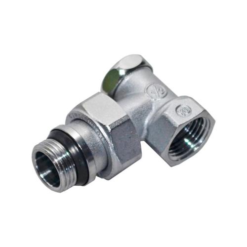 Клапан запорный для радиатора R16TG Ду 15 Ру16 1/2'x3/4'ЕК НР угловой штуцер с герметичной прокладкой Giacomini R16EX037