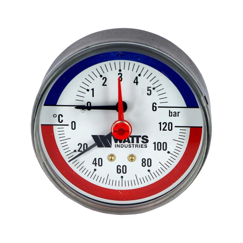 Термоманометр TMAX осевой Дк80 10 бар L=23мм G1/2' 120С Watts 10009465